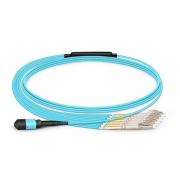 3m (10ft) MTP Female to 6 LC UPC Duplex 12 Fibers Type B LSZH OM3 50/125 Multimode Breakout Cable, Aqua