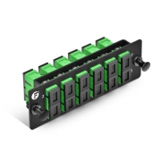 Fiber Adapter Panel with 6 SC APC Duplex OS2 Single mode Adapters (Green), Zirconia Ceramic