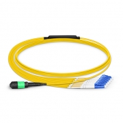 3m (10ft) MTP Female to 6 LC UPC Duplex 12 Fibers Type B LSZH OS2 9/125 Single Mode Breakout Cable, Yellow