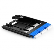 Ultra High Density Fiber Adapter Panel with 3 LC Quad OS2 Singlemode Adapters (Blue), Zirconia Ceramic