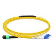 2m (7ft) MPO Female to 4 LC UPC Duplex 8 Fibers OS2 9/125 Single Mode Breakout Cable, Type B, Elite, LSZH, Yellow