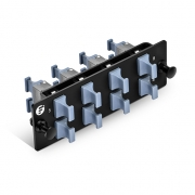 Fiber Adapter Panel with 8 MTP Key-Up to Key-Up Adapters (Charcoal Gray), Horizontal