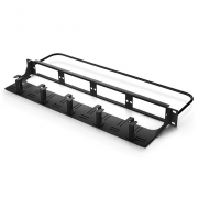 1U 19in Blank Rackmount Fiber Patch Panel with Cable Management Panel and Lacing Bar