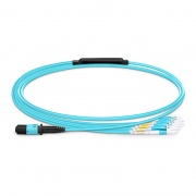 1m (3ft) MPO Female to 4 LC UPC Duplex 8 Fibers Type B LSZH OM3 50/125 Multimode Elite Breakout Cable, Aqua