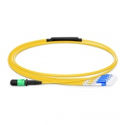 1m (3ft) MPO Female to 4 LC UPC Duplex 8 Fibers Type B LSZH OS2 9/125 Single Mode Elite Breakout Cable, Yellow