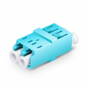 LC/UPC to LC/UPC 10G Duplex OM3/OM4 Multimode SC Footprint Plastic Fiber Optic Adapter/Coupler without Flange, Aqua