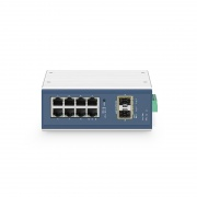 IES3110-8TF, 8-Port Gigabit Ethernet L2+ Managed Industrial Switch, 8x 10/100/1000BASE-T, with 2x 1/2.5Gb SFP, DIN-Rail Switch,  -40 to 75°C Operating Temperature