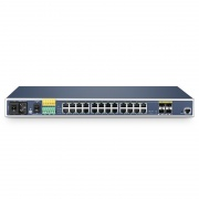 IES3110-24TF, 24-Port Gigabit Ethernet L2+ Managed Industrial Switch, 24x 10/100/1000BASE-T, with 4x 1Gb Combo, Rackmount Switch,  -40 to 75°C Operating Temperature
