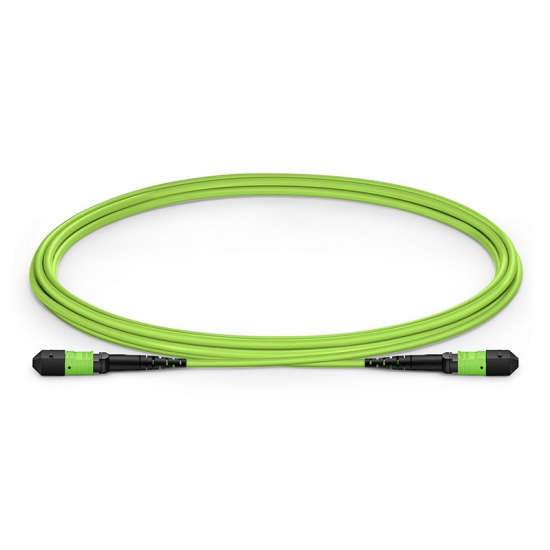 2m 12芯MTP® (母)多模OM5主干光纤跳线,极性B,低插损,Plenum (OFNP阻燃) ,柠檬绿