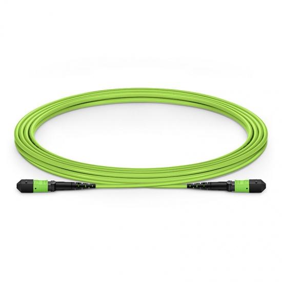 3m 12芯MTP® (母)多模OM5主干光纤跳线,极性B,低插损,Plenum (OFNP阻燃) ,柠檬绿