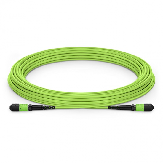 10m 12芯MTP® (母)多模OM5主干光纤跳线,极性B,低插损,Plenum (OFNP阻燃) ,柠檬绿