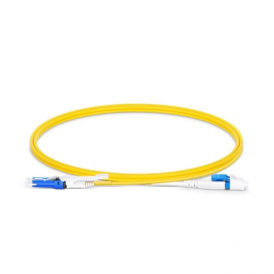 1m CS™UPC-LC UPC双工单模OS2光纤跳线,一管双芯, 扁平卡扣,2.0mm,PVC(OFNR),用于200G/400G网络连接
