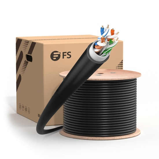 305m Cat6六类非屏蔽(UTP)室外防水箱装工程网线,UV 级,PVC 和LDPE双护套,23AWG,550MHz, 黑色