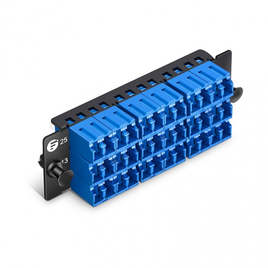 FHD 36芯 12*LC/UPC双工 单模OS2 光纤适配器面板,陶瓷套管
