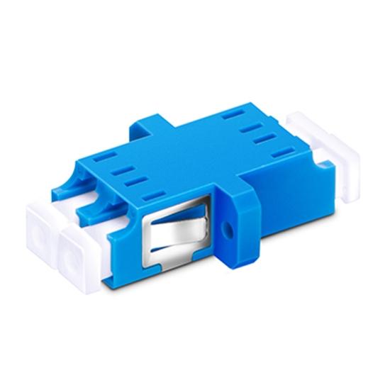 LC/UPC to LC/UPC Duplex Single Mode SC Footprint Plastic Fiber Optic Adapter/Mating Sleeve with Flange