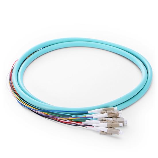 1.5m 12芯 LC/UPC 万兆多模OM4 束状圆缆光纤尾纤-0.9mm PVC护套