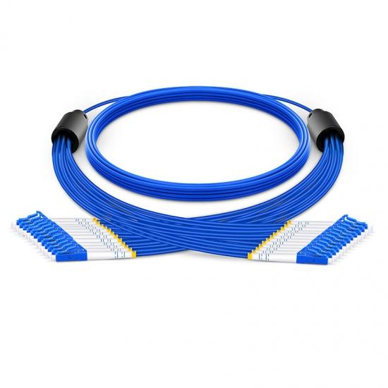 定制12芯 LC/SC/FC/ST 单模铠装分支光纤跳线 3.0mm