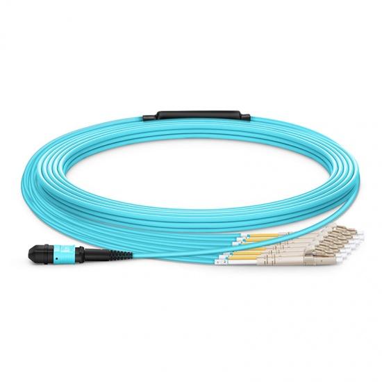 定制8 -144 芯万兆多模(OM3) MPO(12芯)分支光纤跳线