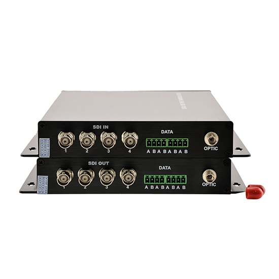 4 Channel Unidirectional HD-SDI over Optical Fiber Transmitter and Receiver Set