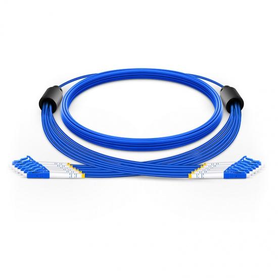 定制6芯 LC/SC/FC/ST OS2单模铠装室内分支光纤跳线 3.0mm