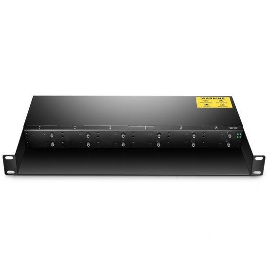 12 Slots 10/100M and 10/100/1000M Mini Media Converter Chassis, 1U Rack Mount, Dual Power AC 220V