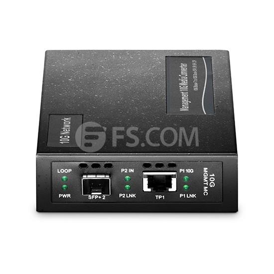 Managed 1 x 10GBase-T RJ45 to 1 x 10GBase-X SFP+ Slot 10Gigabit Ethernet Media Converter, AC 100V~240V