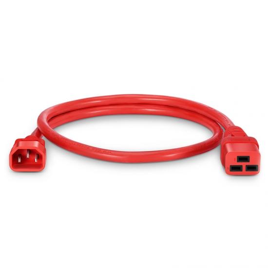 0.9m 14AWG 250V/15A 电源线,IEC60320 C14 转 IEC60320 C19,红色