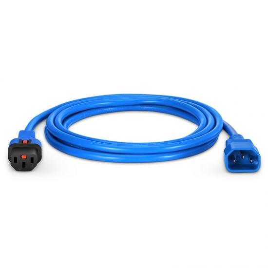 3m 18AWG 250V/10A 自锁式电源线, C14转C13,蓝色