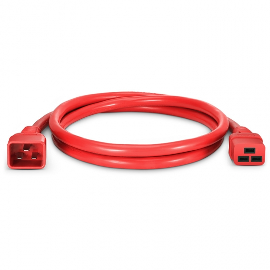 1,8m (6ft) IEC320 Netzkabel-Verlängerung (C20 auf C19, 12AWG, 250V/20A, Rot)