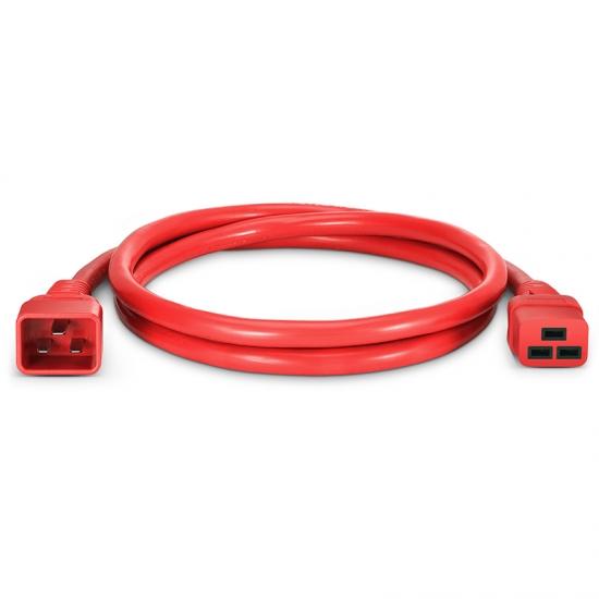 1.8m 12AWG 250V/20A 电源线,IEC60320 C20转 IEC60320 C19,红色