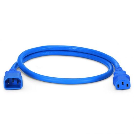 0,9m (3ft) IEC320 Netzkabel-Verlängerung (C14 auf C13, 14AWG, 250V/15A, Blau)