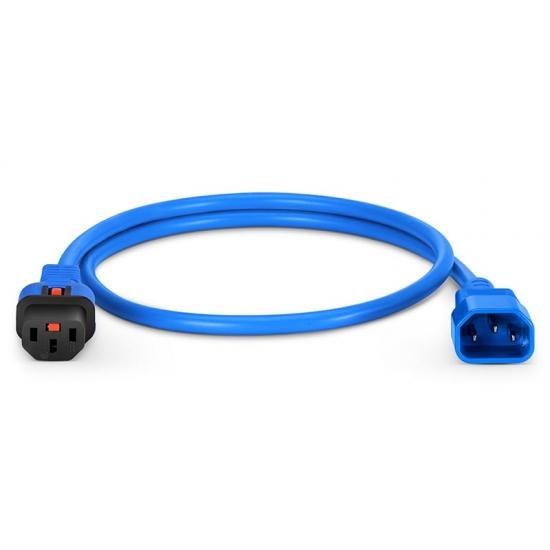 0.9m 18AWG 250V/10A 自锁式电源线, C14转C13,蓝色