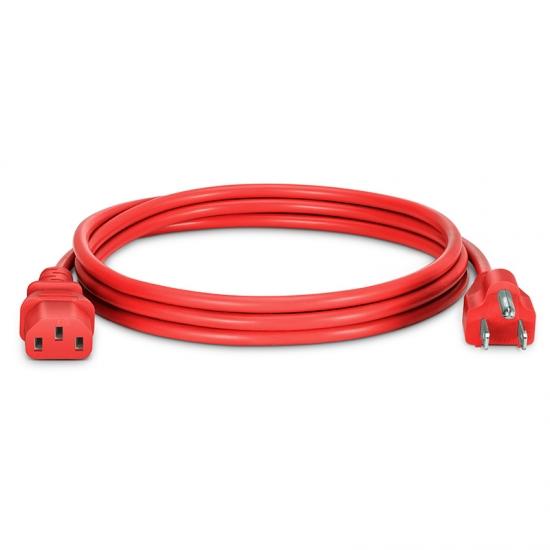1.8m 18AWG 125V / 10A电源线,NEMA 5-15P转IEC60320 C13,红色