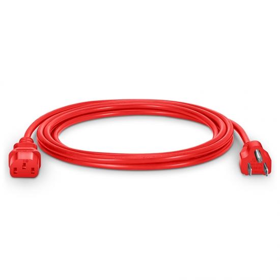 3m 18AWG 125V / 10A电源线,NEMA 5-15P转IEC60320 C13,红色