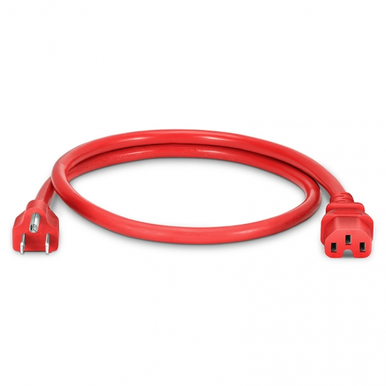 0.9m 14AWG 125V / 15A电源线,NEMA 5-15P转IEC60320 C15,红色