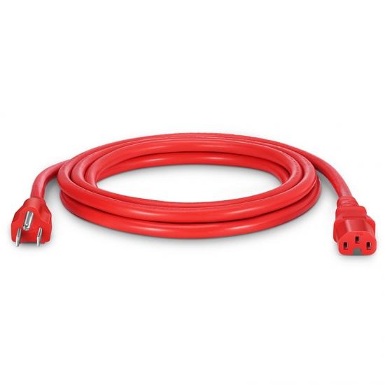 3m 14AWG 125V / 15A电源线,NEMA 5-15P转IEC60320 C15,红色