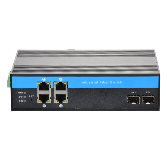 Industrial Gigabit Ethernet Media Converter, 4x 10/100/1000Base-T RJ45 to 2x 1000Base-X SFP Slot