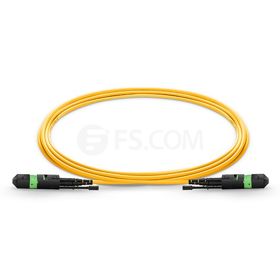 2m (7ft) MTP Female 12 Fibers Type A LSZH OS2 9/125 Single Mode Elite HD Trunk Cable, Yellow