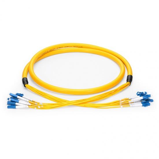 定制24芯 LC/SC/FC/ST/LSH 单模OS2 紧包室内分支光纤跳线-PVC