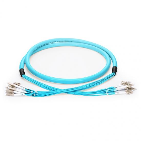 定制4芯 LC/SC/FC/ST /LSH万兆多模OM3 紧包室内分支光纤跳线-PVC