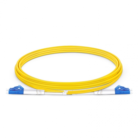 2m (7ft) LC UPC to LC UPC Duplex OS2 Single Mode PVC (OFNR) 2.0mm Fiber Optic Patch Cable