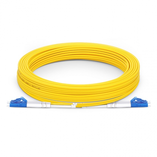 30m (98ft) LC UPC to LC UPC Duplex OS2 Single Mode PVC (OFNR) 2.0mm Fiber Optic Patch Cable