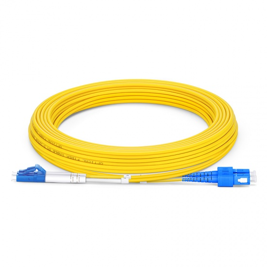 LWL-Patchkabel, 5m (16ft) LC UPC auf SC UPC Duplex Stecker OS2 Singlemode PVC (OFNR) 2,0mm