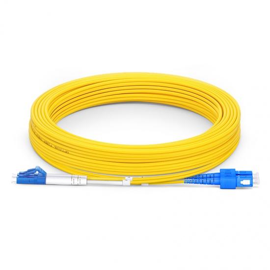 10m (33ft) LC UPC to SC UPC Duplex OS2 Single Mode PVC (OFNR) 2.0mm Fiber Optic Patch Cable