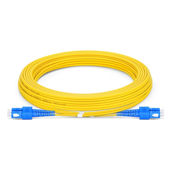 7m (23ft) SC UPC to SC UPC Duplex OS2 Single Mode PVC (OFNR) 2.0mm Fiber Optic Patch Cable
