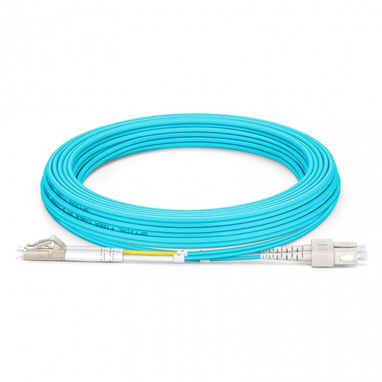 5M LC/UPC-SC/UPC 万兆双工多模OM4光纤跳线 - 3.0mm PVC(OFNR)