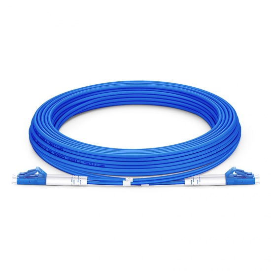 5M LC/UPC-LC/UPC双工单模铠装光纤跳线 - 3.0mm PVC(OFNR)