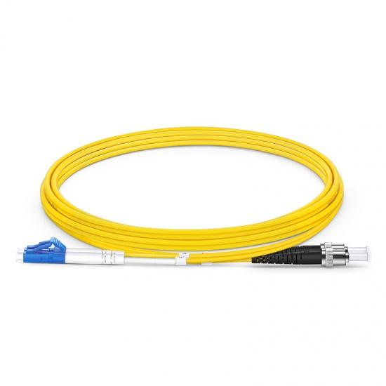 2m LC /UPC - ST /UPC 双工单模 OS2光纤跳线 -2.0mm PVC(OFNR)