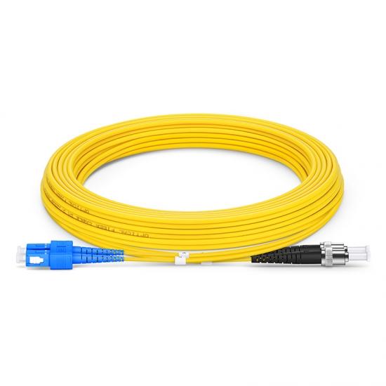 Cable/latiguillo/jumper fibra óptica Movistar SC/APC a ST/APC 5 metros OS2 9/125 monomodo PVC 2.0mm