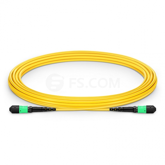 5m (16ft) MTP Female 12 Fibers Type B LSZH OS2 9/125 Single Mode Trunk Cable, Yellow